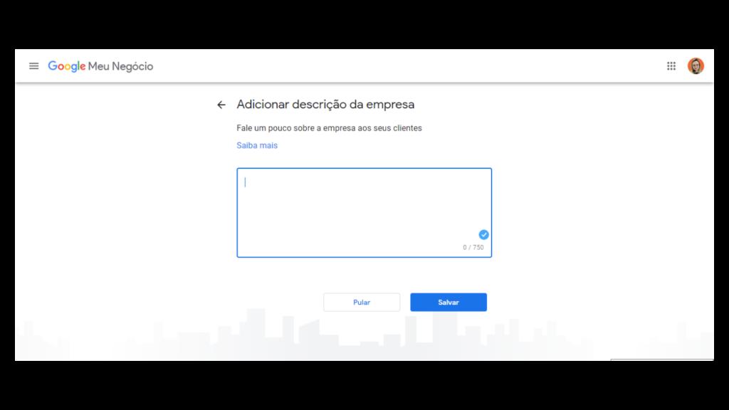 Google Meu Negócio: preencha com uma descrição do seu negócio