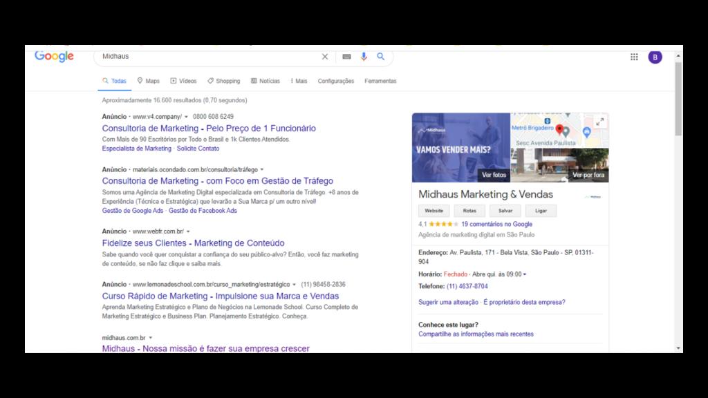 Google Meu Negócio: meu negócio Midhaus