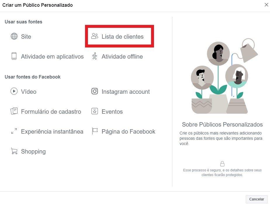 facebook ads publico baseado em lista de clientes