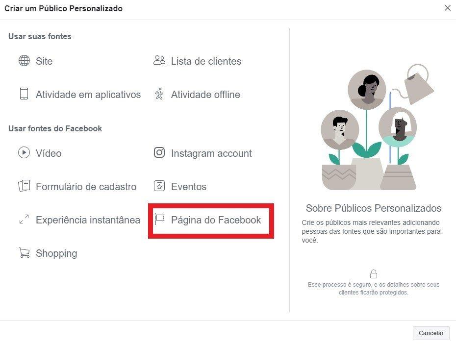 publico baseado em engajamento do facebook